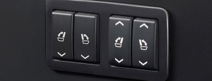 Seat adjustment controls on the 2015 Yukon Denali full size luxury SUV.